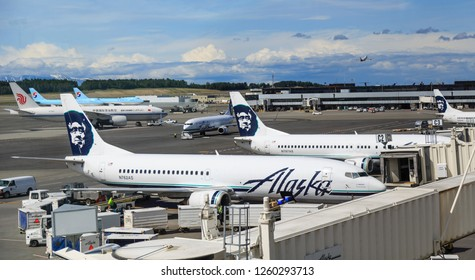 ANCHORAGE, ALASKA - June 3, 2016: Ted Stevens Anchorage International Airport is a major airport in the U.S. state of Alaska, located 5 miles southwest of downtown Anchorage.