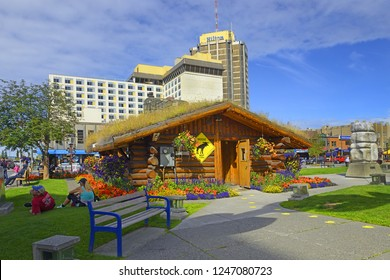 ANCHORAGE, ALASKA, USA - JULY 31, 2018: Downtown Anchorage, old visitor center. Anchorage is Alaska's most populous city