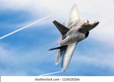 ANCHORAGE, ALASKA / USA - June 30, 2018: A United States Air Force F-22 Raptor performs at the 2018 Arctic Thunder Airshow.