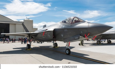 ANCHORAGE, ALASKA / USA - June 30, 2018: A United States Air Force F-35 Lightning II sits on static display at the 2018 Arctic Thunder Airshow.