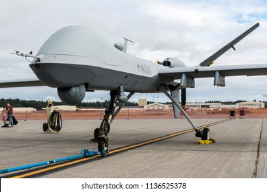 ANCHORAGE, ALASKA / USA - June 30, 2018: A United States Air Force MQ-9 Reaper drone sits on static display at the 2018 Arctic Thunder Airshow.