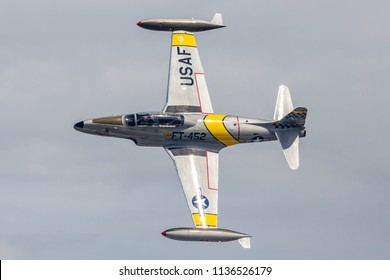 ANCHORAGE, ALASKA / USA - June 30, 2018: A retired military T-33 Shooting Star performs at the 2018 Arctic Thunder Airshow.