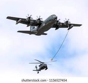 ANCHORAGE, ALASKA / USA - June 30, 2018: A United States Air Force C-130 Hercules performs at the 2018 Arctic Thunder Airshow.