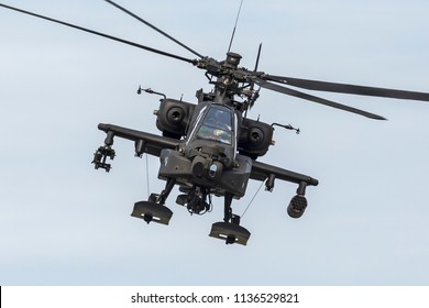 ANCHORAGE, ALASKA / USA - June 30, 2018: A United States Arms AH-64 Apache performs a show of force demo at the 2018 Arctic Thunder Airshow.