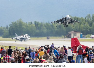 ANCHORAGE, ALASKA / USA - June 30, 2018: A United States Marine Corps AV-8B Harrier performs a demo at the 2018 Arctic Thunder Airshow.
