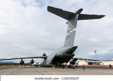 ANCHORAGE, ALASKA / USA - June 30, 2018: A United States Air Force C-5 Galaxy sits on static display at the 2018 Arctic Thunder Airshow.