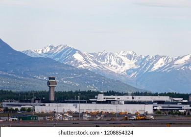 Anchorage Alaska/Unite States-2018.06.007: Downtown skyline of Anchorage with mountains