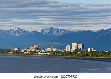 Anchorage Alaska/Unite States-2018.06.07: Downtown skyline of Anchorage with mountains
