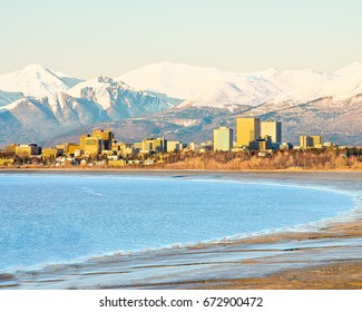 Anchorage city view from the bay