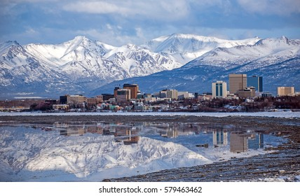Anchorage Skyline with a winter reflection