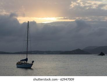Anchored Boat at Sunset