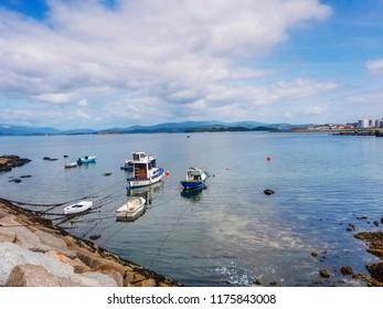 Anchored boats in Vilaxoan harbor, Vilagarcia de Arousa