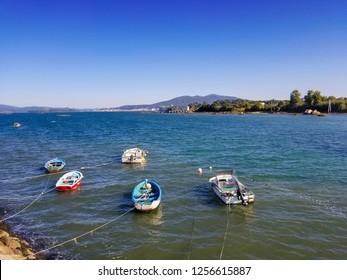 Anchored fishing boats on Coron harbor in Vilanova de Arousa, Galicia, Spain