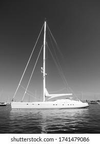 Anchored Sailboat in Newport, RI