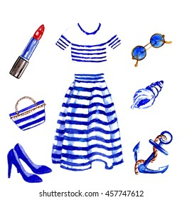 anchor,nautical,pattern,striped,set of summer items,clothes sea