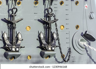 Anchors aboard the legendary cruiser in St. Petersburg on a bright sunny day.