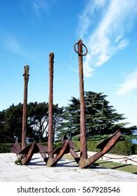Anchors of boat in the park Do Castro in Vigo, Galicia. Spain