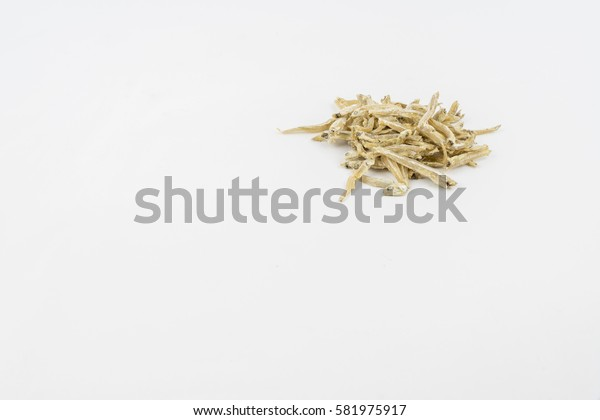 Anchovy (ikan bilis), isolated on isolated white background.