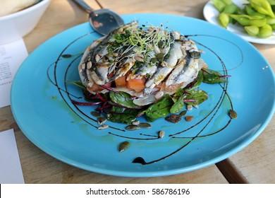anchovy salad at la furgo in Cordoba, Spain