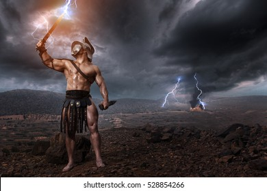 Ancien gladiator standing in helmet and with sword. History concept