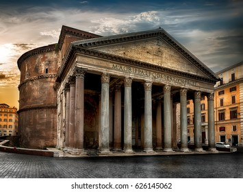 Ancien Pantheon and cloudy sky at sunrise in Rome, Italy