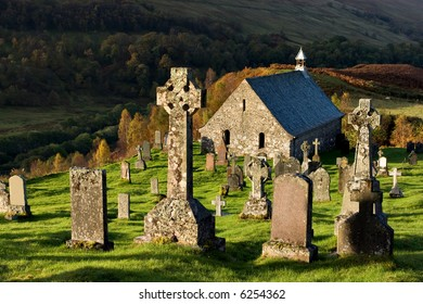 An ancient 15th Century church and graveyard near Roy Bridge in the Scottish Highlands