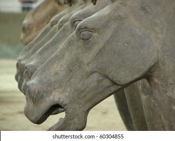 Ancient 2,000 year old terra cotta horse sculptures on display in Xian, China.
