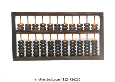 Ancient abacus made of wood isolate on white