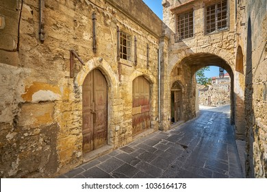 Ancient abandoned building in the old Rhodes city