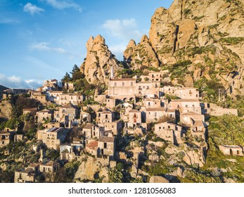 ancient abandoned village called Pentedattilo in Calabria on a mountain. Aerial view.