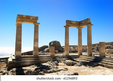 Ancient Acropolis in Rhodes. Lindos city. Greece