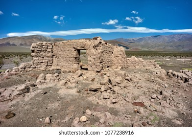 Ancient adobe (mud) house ruins at The six thousand peaks road, San Francisco Pass. The pass connects the Argentinian province of Catamarca with the Atacama Region in Chile