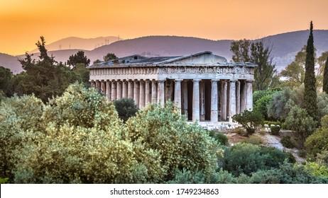 The Ancient Agora of Athens at sunset, Greece.