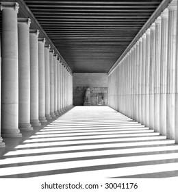 Ancient Agora. Ancient greek stoa. Column arcade.