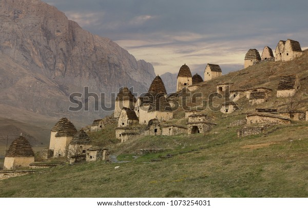 """Ancient Alanian necropolis outside the village of Dargavs, called """"City of the dead"""". North Ossetia-Alania, Russia"""