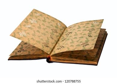Ancient album for cards isolated on a white background