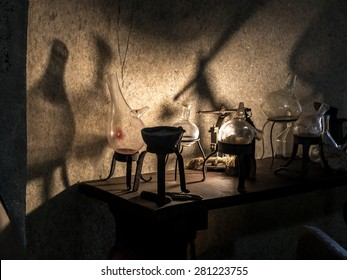 Ancient alchemist's lab with instruments and equipment