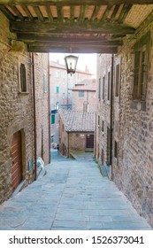 Ancient alley of Cortona, Tuscany, craft village. Cortona is a town and comune in the province of Arezzo, in Tuscany, Italy, main cultural and artistic center of the Val di Chiana after Arezzo.