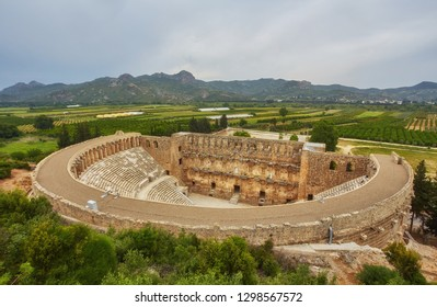 Ancient amphitheater Aspendos in Antalya, Turkey. stock image