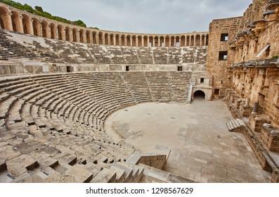 Ancient amphitheater Aspendos in Antalya, Turkey. stock image