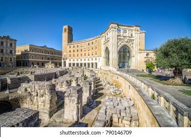 Ancient amphitheater in city center of Lecce, Puglia, Italy