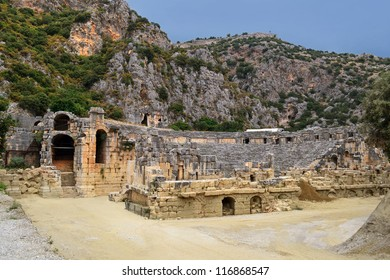 an ancient amphitheater in Myra (Demre) in Turkey
