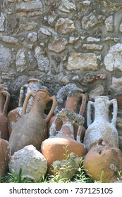 Ancient amphoras raised from the bottom of the Mediterranean Sea