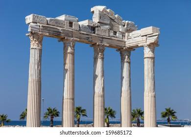 Ancient Apollo temple building columns at Turkey Side city ruins