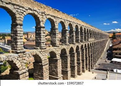 Ancient aqueduct in historic center of Segovia, Spain