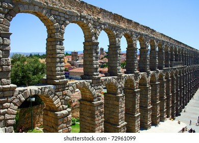 Ancient aqueduct of roman in Segovia (Spain)