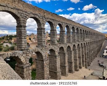 The ancient Aqueduct in Segovia, Spain