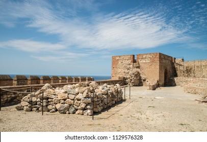 Ancient Arab Salobrena castle under Mediterranean sunlight
