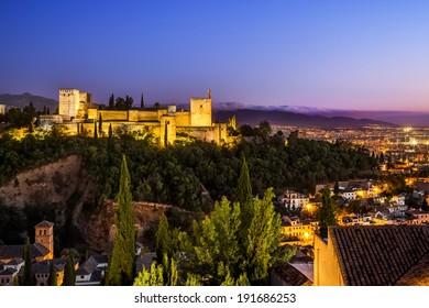 Ancient arabic fortress of Alhambra at night. Granada, Spain.