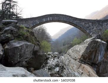 Ancient arch bridge in Lavertezzo, Switzerland